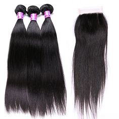 BellaQueen Human Hair Weft Straight Wave Frontal Lace Closure with bundles 4 Peices Unprocessed Brazilian Virgin Hair Weaves Hextensions 8 To 30 Inch >>> To view further for this item, visit the image link-affiliate link. #BeautySalonEquipment