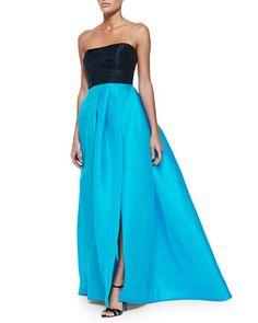 Monique Lhuillier Strapless Colorblock Gazar Gown, Navy/Pool