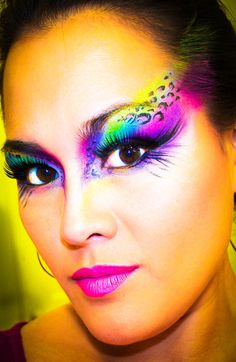 Lisa Frank makeup- colorful neon, long lashes, and leopard print details!