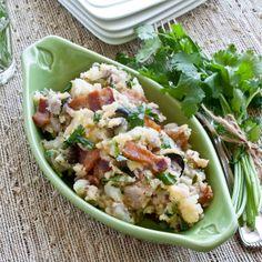 FOODjimoto: Cheesy Potato Salad with Bacon, Cilantro & Roasted Garlic  (no mayo)