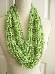 Lacy Cowl Scarf Crocheted-Spring Green Crochet by RoseJasmine