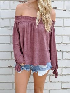Shirring Off Shoulder Tied Sleeve Pleated Blouse