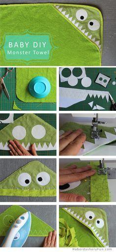 Kapuzentuch mit Monster nähen. EIn schönes DIY für Kinder.
