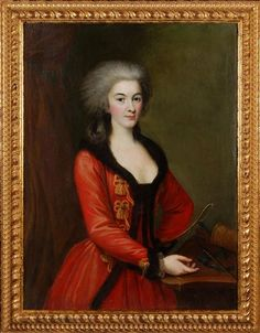 Portrait of a lady with the bow and arrows of Diana in a fur trimmed red riding habit, late 18th c. Britain