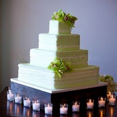Green Horizontal Stripes with Orchid #wedding #cake