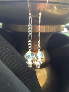 Shimmery vintage Austrian AB crystal earrings sterling silver chain and ear wires. swarovski AB crystal earrings. Classic bridal. 2 inch by LilisVintagebyDesign on Etsy https://www.etsy.com/listing/244217060/shimmery-vintage-austrian-ab-crystal