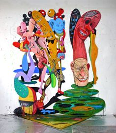 Rob Mcleod: High-intensity colour and a profusion of jostling, cartoony shapes characterise Rob McLeod's recent paintings. Rob Mcleod Defence Force 2005  oil on plywood