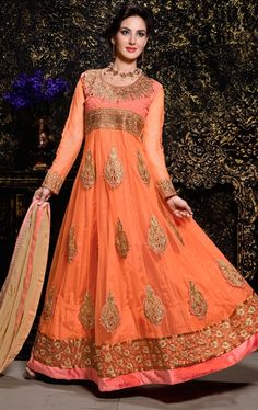 Picture of Charming Peach Designer Anarkali Salwar Kameez