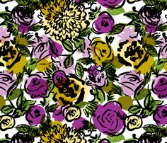 Vintage Floral in Violet fabric by red_velvet on Spoonflower - custom fabric...@Samantha Kuykendall this has been a favorite for a while...i wonder if you contacted the designer, if she would change some of the colors for you...make the purple pink, etc.