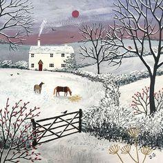 This Print of English countryside in winter with snow, white cottage and horses from an original acrylic painting 'Winter Grazing' by Jo Grundy is just one of the custom, handmade pieces you'll find in our giclée shops. Winter Illustration, Art And Illustration, Winter Art, Winter Snow, Naive Art, Print Artist, Canvas Prints, Art Prints, Winter Scenes