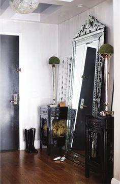 Venetian leaning mirror! Darling tables, too....