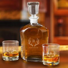Buy Personalized Decanter Set with 2 Low ball Glasses for Groomsmen - Antler. Gifts & Baskets - Personalized Decanter Set with 2 Low ball Glasses for Groomsmen - Antler. Personalized Decanter Set with 2 Low ball Glasses for Groomsmen - AntlerLend your bar Whiskey Decanter, Whiskey Glasses, Whiskey Bottle, Monogrammed Glasses, Whiskey Gifts, Whiskey Cocktails, Groomsman Gifts, Just For You, Groomsmen