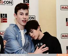Shawn mendes and Hayes Grier so adorable when Hayes is sleeping kind of on Shawn's shoulder!!!