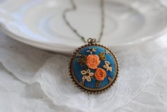 Embroidered jewelry (Abbey Vanderlin's Etsy shop)