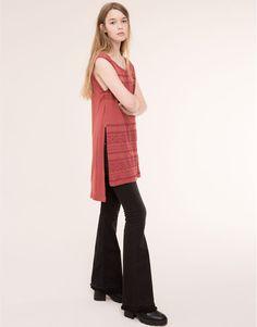 Pull&Bear - mujer - camisetas y tops - camiseta túnica estampado geométrico - teja - 09242364-I2015