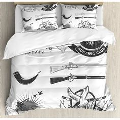 Ambesonne Hunting Store and Club Labels Duck Goose Mallard Shotgun Rifles Reed Bed Duvet Set Size: Queen