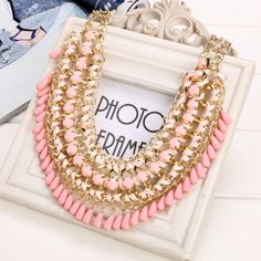 New Women Alloy Statement Knit Necklace Choker Bohemia Style Link Chain Party Decor Pendant Sweater Necklace