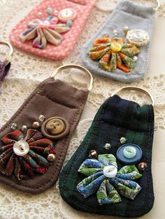 Fabric key chain tutorial. Very cute gift idea! make a pocket in the back for DL or bankcard
