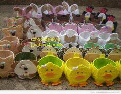 Cuencos o boles forrados con goma eva y con forma de animales