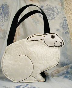 Arabella Rabbit Bag in White Roses Quilted Jumper