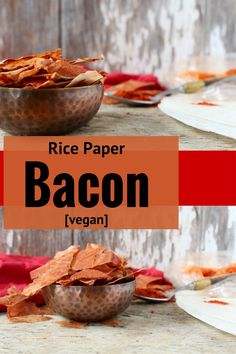 Rice Paper Bacon that is crispy, salty, and a little smoky. Perfect for #vegans or for a healthier bacon option on salads!