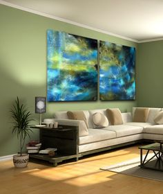 Lovely blues and yellows which equal greens on this digital watercolor painting transferred to aluminum. Size depicted is for a total of two panels:  60″ x 48″ - Price $3,800.  We custom build our art - What size do you need?   Detail image http://jeriholt.com/wp-content/uploads/2015/08/detailblueyellow.jpg