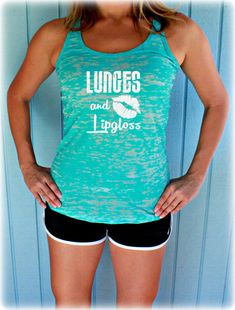 Burnout Workout Tank Top. Lunges and Lipgloss. Cute Womens Workout Clothes. Fitness Motivation. Inspirational Quote. Workout Program. Workout Motivation. Weight Loss Motivation. Crossfit Tank Top. by BraveAngelShop