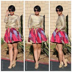 OOTD: DIY Skirt + Gold Sweater - mimi g.