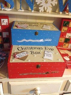 Our very special and limited Christmas Eve boxes , please order early to avoid disappoint as we can only offer so many slots at a time.- Available in Red or Blue- Size 36(w) x 22(d) x 12.5(h)- I can fit up to 5 names on the Nice list scroll.- It features a tag from Santa and the Elves, Santa and his sleigh flying through the glittery sky on the front side of the box.These boxes are great for filling with all sorts of goodies on Christmas eve.These will be delivered in August