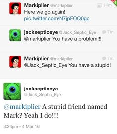 Now now children. no fighting! But their fucking comebacks though<<<These two are seriously like children, I mean Mark does have a mental age of seven years old though Youtube S, Youtube Gamer, Funny Memes, Hilarious, Jokes, Youtuber Tweets, Jack Septiceye, Danti, Darkiplier