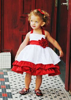 Tiara Dress - White/Red Little Girl Fashion, Little Girl Dresses, Little Girls, Flower Girl Dresses, Kids Outfits, Summer Outfits, Red Rose Wedding, Wedding Inspiration, Wedding Ideas