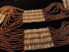 VINTAGE 20s Belt sash 12 strands of Amber Bugle glass beads with woven sections of clear beads - Paris Flea Market find on Ruby Lane