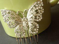 Papilio Stunning Swarovski Crystal Butterfly Side Bun Hair Comb $23