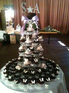 Wedding cupcake tower. Lilac, silver and chocolate.