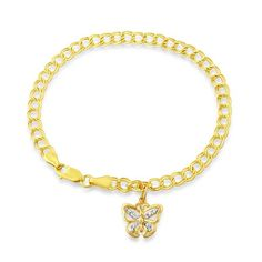 14K Yellow Gold Diamond Accented Butterfly Charm Bracelet -  $220