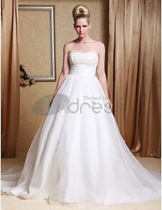 Wedding Dresses 2013-A-line Strapless Chapel Train Organza Wedding Gown