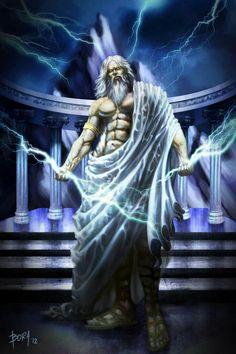 Zeus- Grego: Líder dos deuses do Olimpo, Filho mais novo de Cronos, impõe a justiça e a ordem lançando relâmpagos construídos pelo ciclopes.