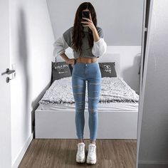 Clothes Cute Winter Ripped Jeans Ideas For 2019 Teenage Outfits, Outfits For Teens, Fall Outfits, Summer Outfits, Fashion Outfits, Womens Fashion, Cute Casual Outfits, Basic Outfits, Skinny Girls