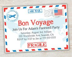 Bon voyage farewell printable invitation by herringbonedesign popular items for farewell invitations on etsy stopboris Image collections