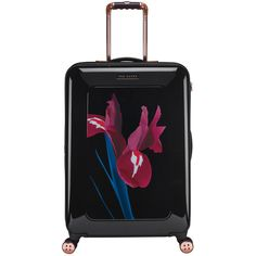 Ted Baker Stencilled Stem Suitcase - Medium (49.540 ISK) ❤ liked on Polyvore featuring bags, luggage and black