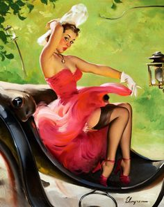 """Wall Art Print-Pinup Print- Art Reproduction Vintage Sexy Pin-up Girl Gil Elvgren """"UP in Central Park"""", 1950 Print 8 x Pin Up Vintage, Retro Pin Up, Mode Vintage, Vintage Art, Vintage Style, Vintage Paintings, Vintage Girls, Pinup Art, Gil Elvgren"""