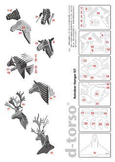Reindeer Hanger | Ditoruso paper craft by Aki tools, Inc. | human shape /// hanger /// Shikadan Cloths Hanger