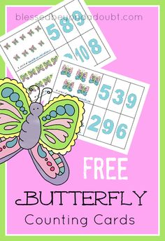FREE homeschool butterfly counting cards. They are perfect for daycares and preschool classed.