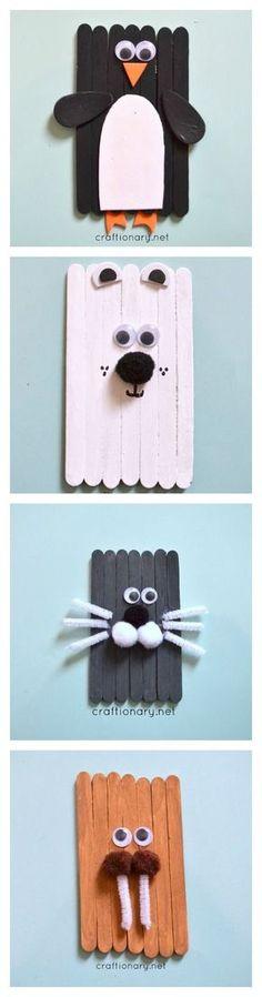 Popsicle sticks Arctic Animal craft for kids