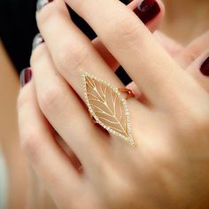 """""""Leafy Lace"""" Diamond Leaf Ring-- not entirely practical, but still very pretty. I would love this for sake of a costume, character outfit, or photo shoot. Gold Jewelry Simple, Gold Rings Jewelry, Hand Jewelry, Stylish Jewelry, Cute Jewelry, Bridal Jewelry, Gemstone Jewelry, Jewelery, Fashion Jewelry"""