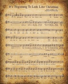 Free Printable Vintage music sheet - It's Beginning to Look Like Christmas