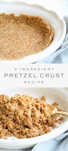 Pretzel Crust Recipe for Pie and Dessert - Easy sweet and salty Pretzel Pie Crust recipe. Köstliche Desserts, Delicious Desserts, Dessert Recipes, Yummy Food, Plated Desserts, Cupcake Recipes, Tasty, Curry D'aubergine, Pretzel Crust
