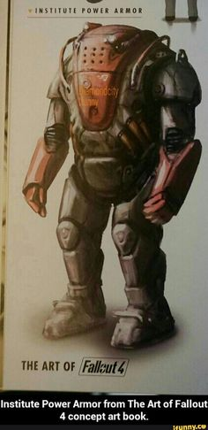 Institute Power Armor from The Art of Fallout 4 concept art book. I wonder why this didn't make it in the game, maybe they couldn't figure out how strong it should be Fallout 4 Concept Art, Fallout Fan Art, Fallout Game, Fallout New Vegas, Fallout Tips, Fallout Vault, Fallout Power Armor, Fallout Posters, Concept Art Books