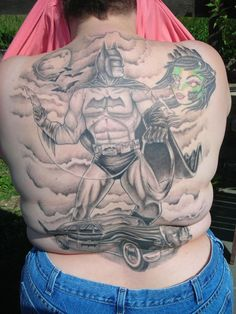 My awesome Batman back tattoo...done by Scott Schultz at Eternal Tattoos in Michigan - www.eternaltattoos.com