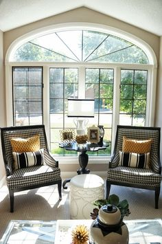Living Room window houndstooth chairs #beforeandafter